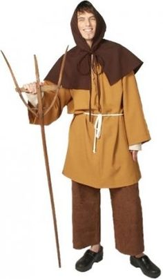 The Medieval peasant clothing was basic and practical. The dress of the men in the lowest ranks of society was always short and tight, consisting of breeches, or tight drawers, mostly made of leather, of tight tunics or doublets, and of capes or cloaks of coarse brown woollen.