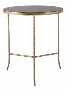 F131 - Brass Round Table with Black Glass