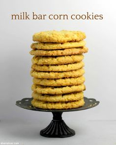 Literally bursting with corn flavor, these cookies are as unique as they are delicious! Chocolate Malt Cake, Chocolate Chip Cookies, Milk Bar Cookbook, Cookie Recipes, Dessert Recipes, Dessert Ideas, Crack Pie, Cookie Jars, Food Processor Recipes