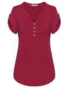 Best 12 Larenba Cotton Henley Shirts for Ladies, Womens V Neck Short Sleeve Button Down Stretchy Casual Blouse Henley Shirts(Red,X-Large) Blouse Styles, Blouse Designs, African Fashion Dresses, Fashion Outfits, African Blouses, Henley Shirts, Summer Blouses, Blouses For Women, Clothes