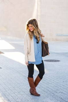 what to wear with leggings: oversized chambray shirt, layred open cardigan and tall leather riding boots