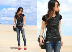 Bailey 44 Leather Top, Rag & Bone Jeans, Chanel Purse