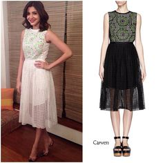 Anushka Sharma for PK promotions Anushka Sharma has been busy promoting her new film 'PK' these days, giving us some cool looks. Here are three of them. Her first look was a white perforated dress from Carven that she styled with a pair of multi color studded Louboutins and a red lip. I love the femininity that this look exudes. Beautiful!