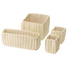 IKEA Nordrana Basket 4 Set, Off White