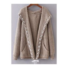 Hooded String Cable Knit Cardigan ($34) ❤ liked on Polyvore featuring tops, cardigans, chunky cable knit cardigan, string top, hooded cable cardigan, hooded top and brown cable knit cardigan