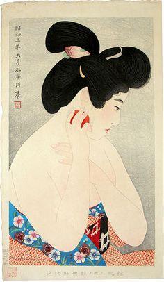 - Asai Kiyoshi: Styles of Contemporary Make-up: no. Make-up (Kindaijisesho no uchi: ni, Kesho) - Scholten Japanese Art Japanese Art Prints, Japanese Drawings, Japanese Artwork, Japanese Painting, Art Geisha, Art Asiatique, Japanese Geisha, Vintage Japanese, Art Japonais