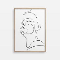 Woman face one line drawing, printable wall art for your modern home decor, Abstract Painting, Fine Art Print, Minimal Silhouette Poster by MyPrintablePoster on Etsy Face Line Drawing, Female Face Drawing, Drawing Women, Female Art, Typography Prints, Wall Art Quotes, Minimalist Art, Woman Face, Bedroom Wall