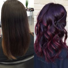 and with Balayage and custom Vivids overlay! Vivid Hair Color, Hair Color And Cut, Hair Color Dark, Ombre Hair Color, Hair Colors, Cherry Cola Hair Color, Reverse Ombre Hair, Love Hair, Down Hairstyles