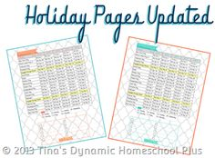Updated Holiday Pages for Homeschool Curriculum Planner - All forms & printables are free and can be used by any classroom teacher {Tina's Dynamic Homeschool Plus}