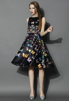 Rainbow of Butterfly Printed Midi Dress in Black