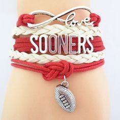 Infinity Love Oklahoma Sooners Football Bracelet BOGO