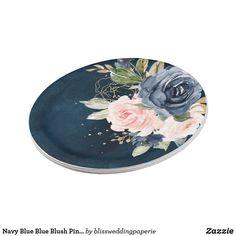 Navy Blue Blue Blush Pink Rose Botanical Wedding Paper Plate Rustic Wedding, Wedding Ideas, Blue Wedding, Elegant Wedding, Wedding Gifts, Wedding Blush, Floral Wedding, Summer Wedding, Wedding Decor