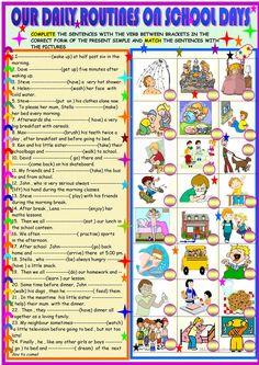 Daily routines on schooldays worksheet - Free ESL printable worksheets made by teachers