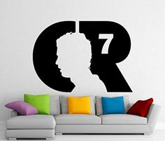 Cristiano Ronaldo Wall Decal CR7 Real Madrid Football Vinyl Sticker Wall Decor Removable Waterproof Decal (428n)