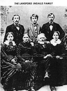 "We've scoured the web to try to find a better quality picture, but here we see the family of Lansford Ingalls, Laura's grandfather.  Lansford was born in Quebec and was a direct descendent of a passenger on the Mayflower.  In the 1840's, he moved his growing family to a little town just west of Elgin, Illinois.   Laura Ingalls father, Charles, had already moved farther West when this photo was taken.  There, he would meet the ""quiet and proper"" Caroline Lake Quiner."