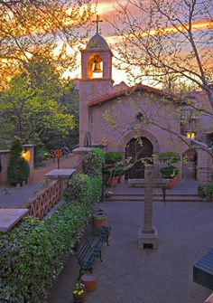 Outside the Chapel at Tlaquepaque, Sedona, AZ. This is a great shopping area with unique crafts and creative gifts.