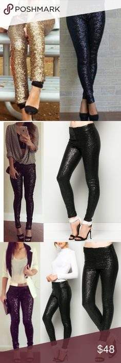 BROOKLYN sequin leggings - BLACK Super fun & which girl isn't head over heels in love with sequins? Perfect for the holidays, NYE, a hot date or girls night out. AVAILABLE IN GOLD & BLACK.   LIMITED QUANTITIES AVAILABLE. Get yours soon!   PLS SEE PIC 4 CLOSE UP OF ACTUAL ITEM  ‼️NO TRADE, PRICE FIRM‼️ Bellanblue Pants Leggings