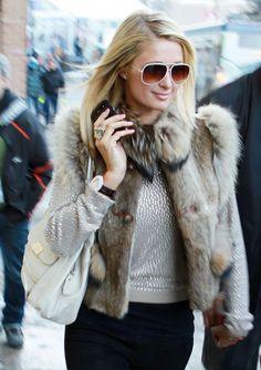 Paris Hilton in furs
