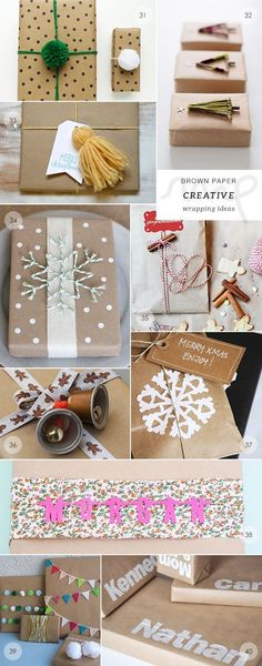 Gifts Wrapping & Package : 40 brown paper gift wrapping ideas picks by My Paradissi- the creatives Christmas Crafts For Gifts, Christmas Gift Wrapping, Craft Gifts, Holiday Gifts, Christmas Diy, Wrapping Ideas, Creative Gift Wrapping, Creative Gifts, Present Wrapping