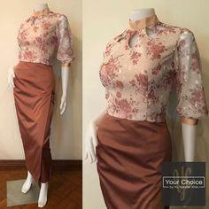 Thai Fashion, Folk Fashion, Myanmar Traditional Dress, Traditional Dresses, Blouse Styles, Blouse Designs, Plus Size Womens Clothing, Clothes For Women, Filipiniana Dress