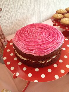#red velvet cake #pink icing #princess #pink #castle #birthday #girl #tea party #1st birthday #yum #yummy #party food #food table