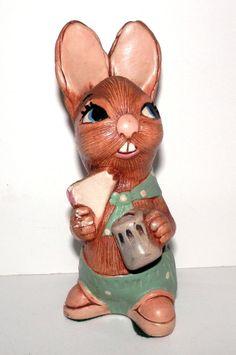 Vintage Pendelfin Bunny Eating Pie Figurine Robert England Easter Rabbit N/R