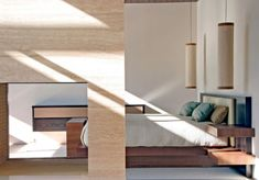 Long cylindrical lantern styled pendant lights next to the bed