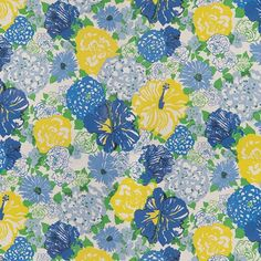 Lee Jofa Heritage Floral-Blue/Yellow by Lilly Pulitzer 2011106-540  Decor Fabric