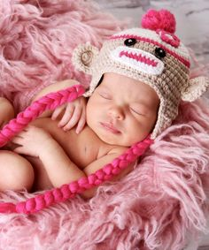 Pink Sock Monkey Hat for Baby