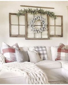 I love this window pane wall decor. So nice!