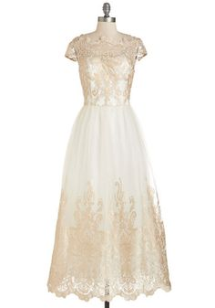 Sparkling Celebration Dress by Chi Chi London - White, Gold, Embroidery, Special Occasion, Wedding, Bride, Vintage Inspired, Maxi, Cap Sleeves, Lace, Lace, Tulle, Long