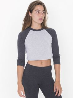 Poly-Cotton Cropped 3/4 Sleeve Raglan $22.00