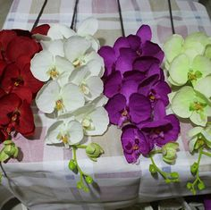 (10pcs/lot) Artificial Fabric Phalaenopsis Butterfly Moth Orchid Bouquet Home Decoration 6 Colors Available