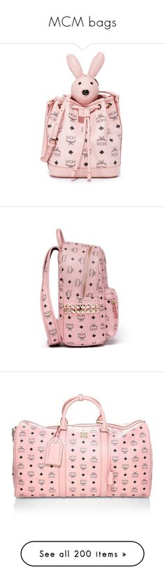 """MCM bags"" by alenasb ❤ liked on Polyvore featuring bags, handbags, tote bags, soft pink, pink tote bags, pink tote handbags, drawstring bag, drawstring tote bags, pink handbags and backpacks"