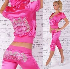 Designer Redial Hot And Sexy New Pink Diamante Studded Celebrity Celeb Style Satin Embroidered Active Sport Wear Sportswear Hooded Hoody Casual Jogging Short Sleeve Top Jacket Capri Pants 2 Piece Tracksuit Club Outfit UK Size 8-12