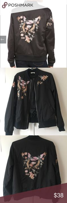 Love + Harmony floral bomber Brand new, no tags. Never worn. Silky material with lovely embroidery stitching. A great closet addition! Received as a gift, but I have a similar jacket already! Slightly large for a small, will fit S/M. It's roomy! love + harmony Jackets & Coats