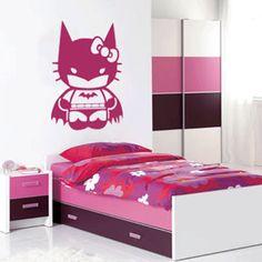 Batman Hello Kitty Kids Nursery Wall Art Decal Sticker