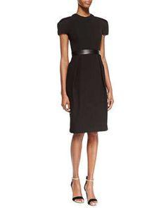 Cap-Sleeve Leather-Waist Dress, Black by Carmen Marc Valvo at Neiman Marcus.