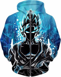 Super Saiyan - SSj God Blue Goku - All Over Print Zip HOODIE - RO00942ZH