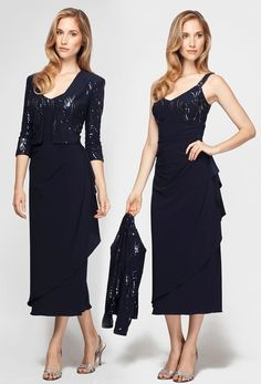 Alex Evenings 296359 Sequins T-length Dress with 3/4 Sleeves Jacket (Petite Sizes)