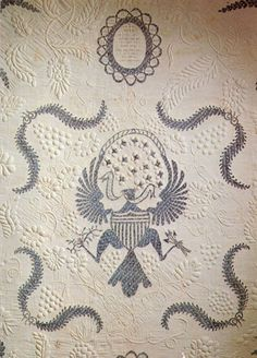 Quilt dated 1808 by Rebecah Foster (detail). Appliqued and stuffed-work eagle. collection Tennessee State Museum