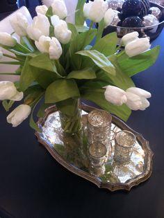 house of proper for winterberry lane #display #merchandising #tray #tulips #votives #mercuryglass #furniture #homedecor #toronto #oakville #winterberrylane #houseofproper
