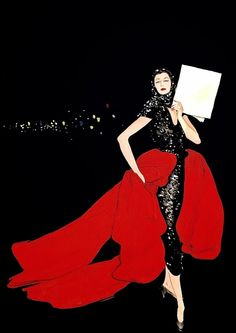 RENE GRUAU's world-famous fashion illustrations epitomise the glamour and sophistication of Fifties couture - gracing the era's most iconic magazines and advertisements, from Vogue to Balenciaga, Balmain and Lanvin; Jacques Fath, Moda Fashion, Fashion Art, Vintage Fashion, Fashion Design, Parisian Fashion, Balenciaga, Lanvin, Christian Dior
