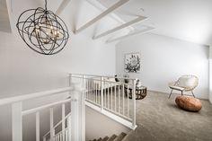 #whitebeams #statementlight #contemporary #chandelier #sittingroom #whitebeams #whitebalustrade