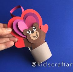 Valentine day cards crafts for kids heart Paper Crafts For Kids, Easy Crafts For Kids, Preschool Crafts, Diy Crafts, Valentine Day Crafts, Animal Crafts, Drawing For Kids, Kids Gifts, Activities For Kids
