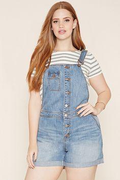 Plus Size Denim Overall Shorts Latest Fashion Clothes, Curvy Fashion, Plus Size Fashion, Fashion Outfits, Jeans Fashion, Dress Fashion, Stylish Outfits, Fashion Women, Salopette Short Jean