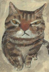 Cat portrait by Japanese artist Tetsuo Takahara (1958-2014)