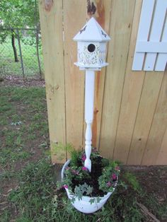 List of items needed to make this project:Banister for mounting the bird house on.PaintBird HouseFlower PlanterPotting soil   FlowersA piece of Re bar if sticki…