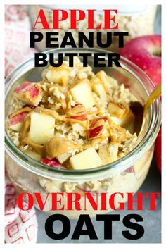 Apple Peanut Butter Overnight Oats Recipe is the BEST make-ahead breakfast! So quick and easy!This Apple Peanut Butter Overnight Oats Recipe is the BEST make-ahead breakfast! So quick and easy! Quick Oat Recipes, Oatmeal Recipes, Healthy Recipes, Clean Eating Recipes, Healthy Snacks, Eating Healthy, Drink Recipes, Yummy Recipes, Peanut Butter Overnight Oats