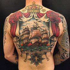 Awesome ship back tattoo by tattoo artist Zooki, tattooing from The Sailors Grave, Copenhagen. Chest Piece Tattoos, Chest Tattoo, Neo Traditional Tattoo, American Traditional, Traditional Japanese, Beautiful Tattoos, Cool Tattoos, Ship Tattoos, Tatoos